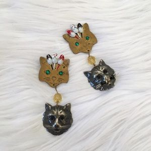 Vintage Crazy Cat Lady Mouse Dangle Earrings